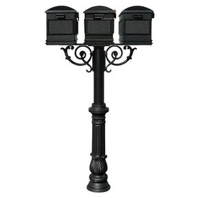 Lewiston Mailboxes with Hanford Triple Post, Support Braces and Ornate Base, Black