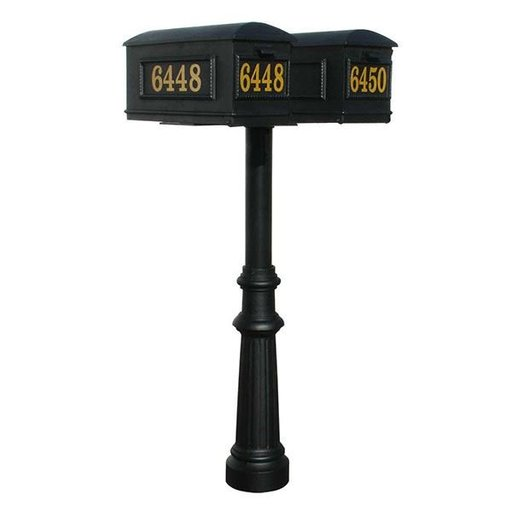 View a Larger Image of Lewiston Mailboxes with Hanford Twin Post and Fluted Base, Black