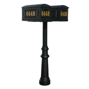 Lewiston Mailboxes with Hanford Twin Post and Fluted Base, Black