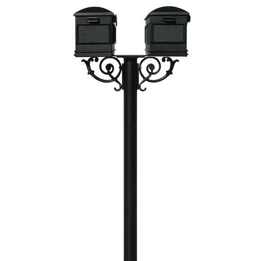 View a Larger Image of Lewiston Mailboxes with Hanford Twin Post and Support Braces, Black