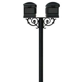 Lewiston Mailboxes with Hanford Twin Post and Support Braces, Black