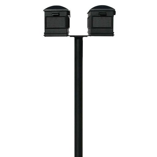 View a Larger Image of Lewiston Mailboxes with Hanford Twin Post, Black
