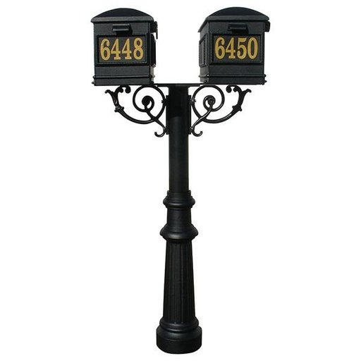 View a Larger Image of Lewiston Mailboxes with Hanford Twin Post, Support Braces, and Fluted Base, Black
