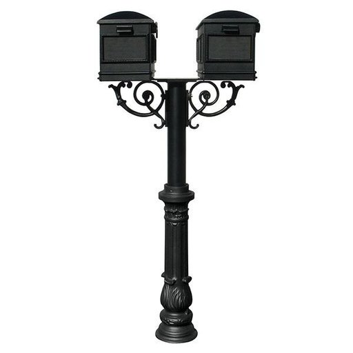 View a Larger Image of Lewiston Mailboxes with Hanford Twin Post, Support Braces and Ornate Base, Black