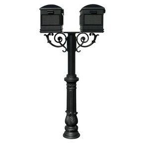 Lewiston Mailboxes with Hanford Twin Post, Support Braces and Ornate Base, Black