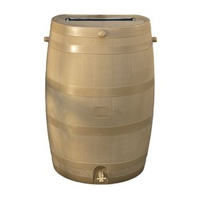 Rain Barrel with Flat Back and Brass Spigot, 50 gallon, Oak