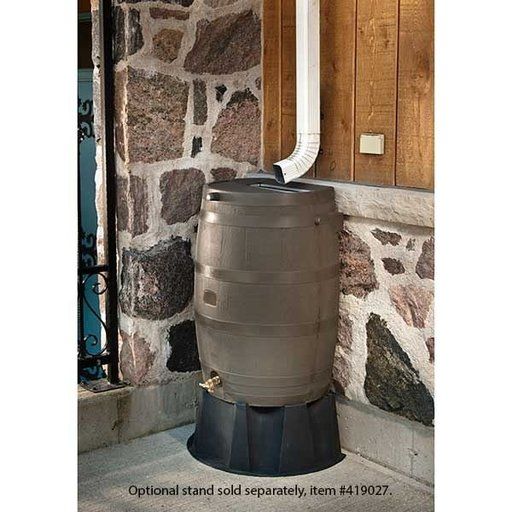 View a Larger Image of Rain Barrel with Flat Back and Brass Spigot, 50 gallon, Wood Grain