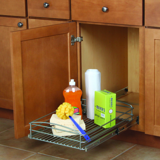 """View a Larger Image of Real Solutions 14"""" Multi-Use Basket, Frosted Nickel"""