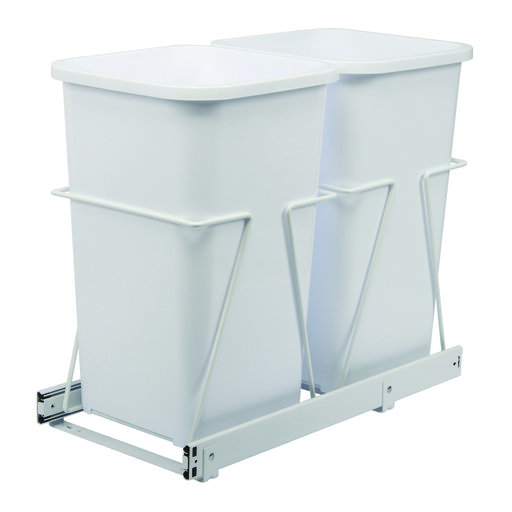 View a Larger Image of Real Solutions Double 27qt Pull-out Waste & Recyling Unit, White