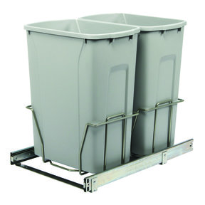 Real Solutions Double 35qt Pull-out Waste & Recyling Unit, Platinum