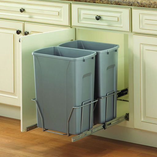 View a Larger Image of Real Solutions Double 35qt Pull-out Waste & Recyling Unit, Platinum