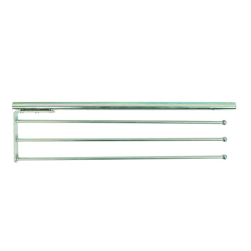 View a Larger Image of Real Solutions Pull-Out 3-Arm Towel Bar, Anochrome Finish