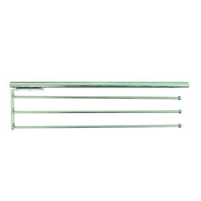 Real Solutions Pull-Out 3-Arm Towel Bar, Anochrome Finish