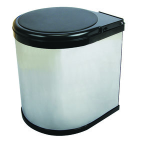 Real Solutions Single 12qt Pivot-out Waste & Recyling Unit with Lid, Chrome
