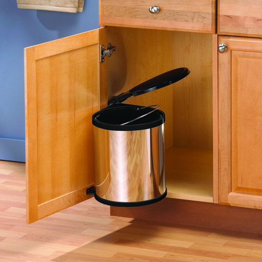 View a Larger Image of Real Solutions Single 12qt Pivot-out Waste & Recyling Unit with Lid, Chrome