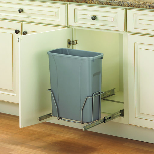 View a Larger Image of Real Solutions Single 20qt Pull-out Waste & Recyling Unit, Platinum