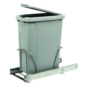Real Solutions Single 20qt Pull-out Waste & Recyling Unit with Lid, Platinum