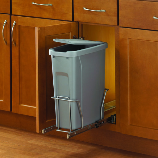 View a Larger Image of Real Solutions Single 20qt Pull-out Waste & Recyling Unit with Lid, Platinum