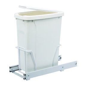 Real Solutions Single 20qt Pull-out Waste & Recyling Unit with Lid, White