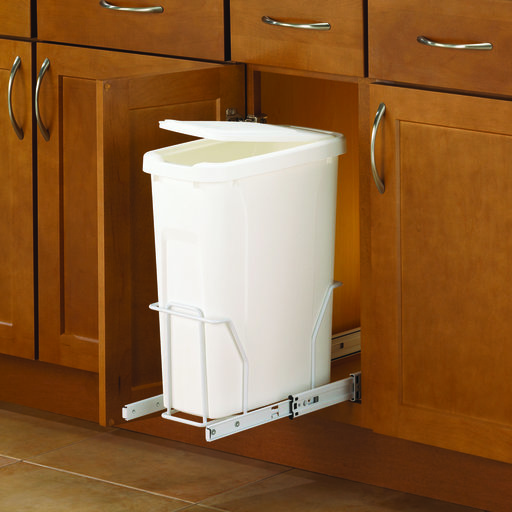 View a Larger Image of Real Solutions Single 20qt Pull-out Waste & Recyling Unit with Lid, White