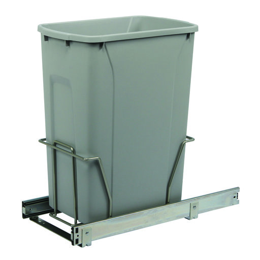 View a Larger Image of Real Solutions Single 35qt Pull-out Waste & Recyling Unit, Platinum