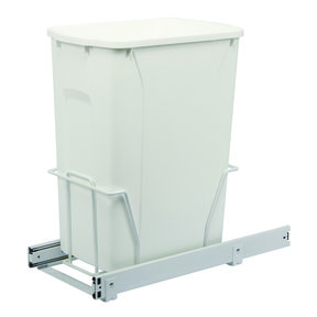 Real Solutions Single 35qt Pull-out Waste & Recyling Unit, Without Lid, White