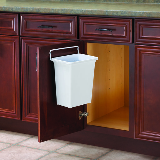 View a Larger Image of Real Solutions Single 9qt Door-mounted Waste & Recyling Unit, White