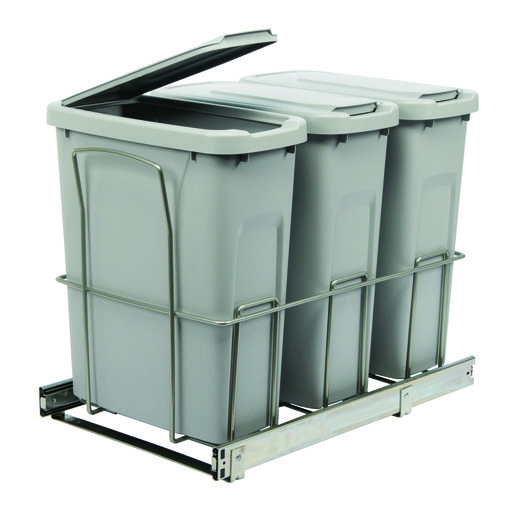 View a Larger Image of Real Solutions Triple 20qt Pull-out Waste & Recyling Unit with Lid, Platinum