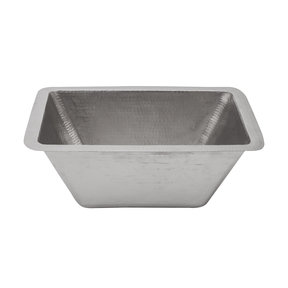"Rectangle Copper Prep Sink in Nickel w/ 3.5"" Drain Size"