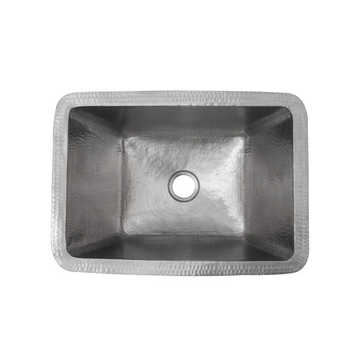 View a Larger Image of Rectangle Hammered Copper Bathroom Sink in Nickel