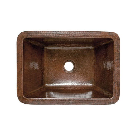 View a Larger Image of Rectangle Hammered Copper Bathroom Sink