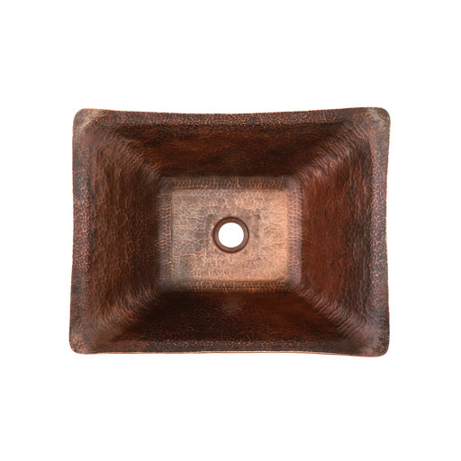 View a Larger Image of Rectangle Hand Forged Old World Copper Vessel Sink