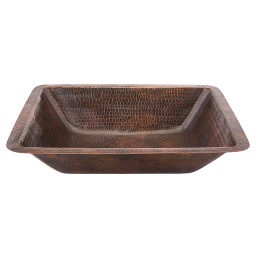 View a Larger Image of Rectangle Under Counter Hammered Copper Bathroom Sink