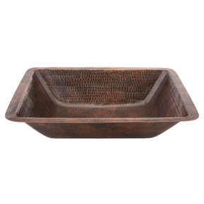 Rectangle Under Counter Hammered Copper Bathroom Sink