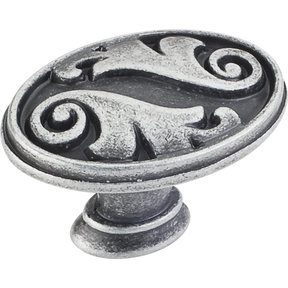 "Regency Acanthus Knob,1-5/8"" O.L.,, Distressed Antique Silver"