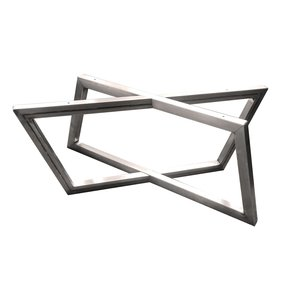 "Rhombus Slab Leg Set 15.5"" High Raw Steel"