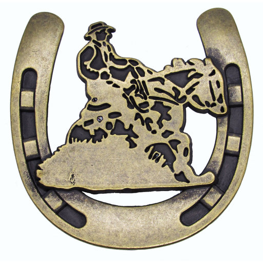 View a Larger Image of Riding Cowboy Horseshoe Knob, Brass Oxide