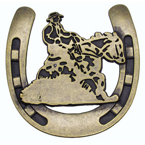 Riding Cowboy Horseshoe Knob, Brass Oxide