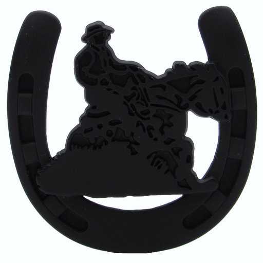 View a Larger Image of Riding Cowboy Horseshoe Knob, Matte Black
