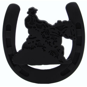 Riding Cowboy Horseshoe Knob, Matte Black