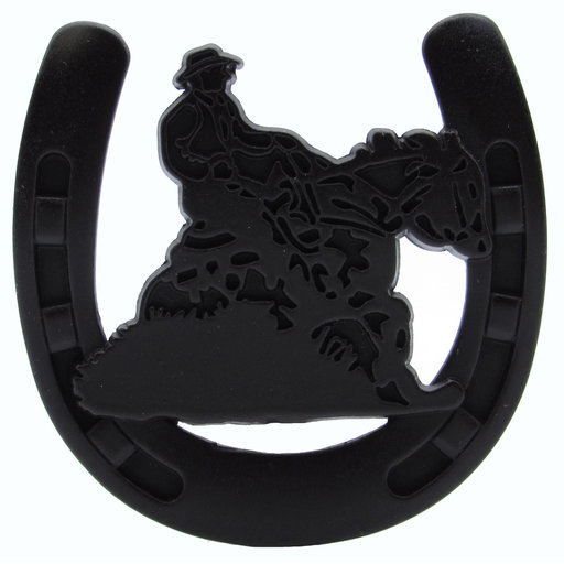 View a Larger Image of Riding Cowboy Horseshoe Knob, Oil Rubbed Bronze