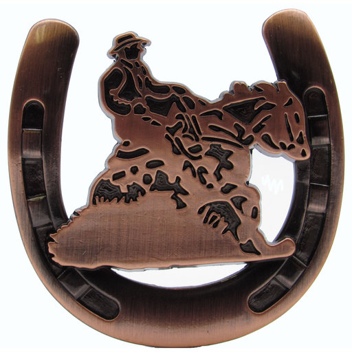 View a Larger Image of Riding Cowboy Horseshoe Knob, Satin Copper Oxide