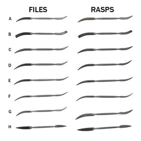 Riffler Files & Rasps, Complete Set of 16 - Best Value