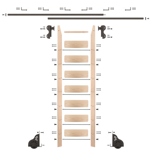 View a Larger Image of Rolling Hook 8-Foot Maple Ladder Kit with 12-Foot Rail and Horizontal Brackets, Bronze