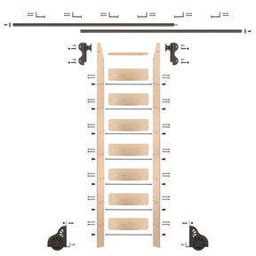 Rolling Hook 8-Foot Maple Ladder Kit with 12-Foot Rail and Horizontal Brackets, Bronze