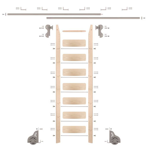 View a Larger Image of Rolling Hook 8-Foot Maple Ladder Kit with 12-Foot Rail and Horizontal Brackets, Satin Nickel