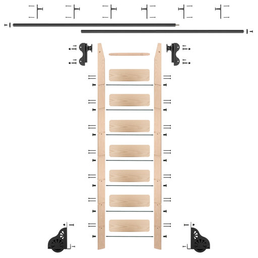 View a Larger Image of Rolling Hook 8-Foot Maple Ladder Kit with 12-Foot Rail and Vertical Brackets, Black
