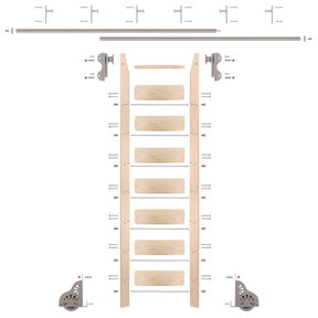 Rolling Hook 8-Foot Maple Ladder Kit with 12-Foot Rail and Vertical Brackets, Satin Nickel