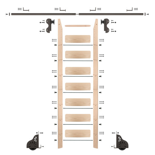 View a Larger Image of Rolling Hook 8-Foot Maple Ladder Kit with 8-Foot Rail and Horizontal Brackets, Bronze