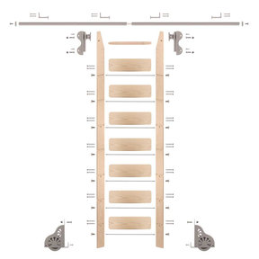 Rolling Hook 8-Foot Maple Ladder Kit with 8-Foot Rail and Horizontal Brackets, Satin Nickel